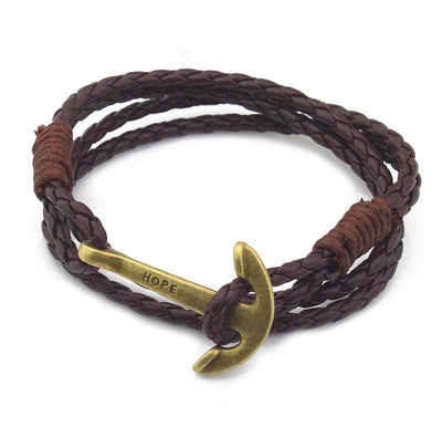 Leather Wristband Jewelry 40cm Length Brown PU Rope Silver Anchor Bracelet