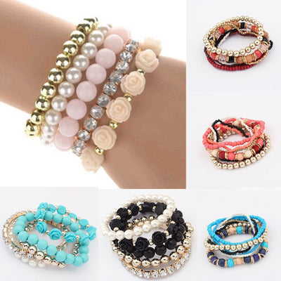 Bohemia Stretch Multilayer Bead Flower Charm Bangle