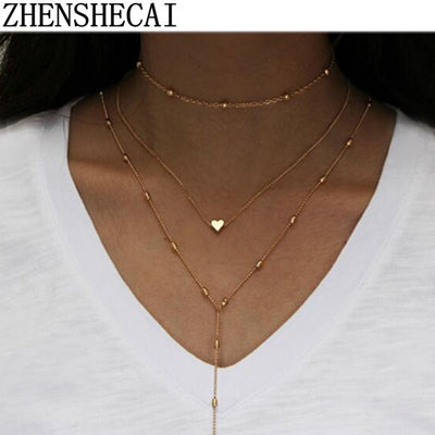 Simple Coin Bar of Multiple Layers of Tassels Clavicle Chain Necklace