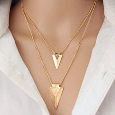European Simple Coin Bar of Multiple Layers of Tassels Clavicle Chain Necklace