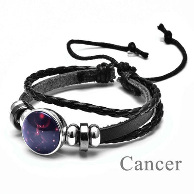 12 Constellations Leather Bracelet