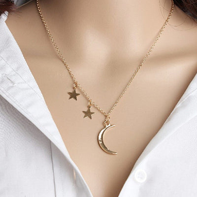 Gold Color Moon Star Sun Pendant Necklace