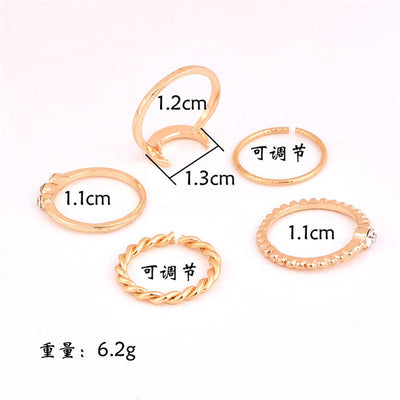 Brief 5pcs/set CZ Crystal Midi Rings for Women Bohemian Moon Charms Rings