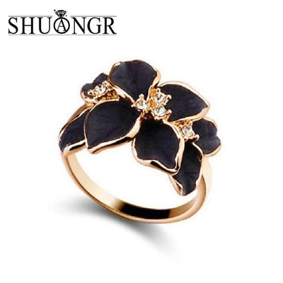Ring With Gold Color Austrian Crystal Black&White Color Enamel Flower