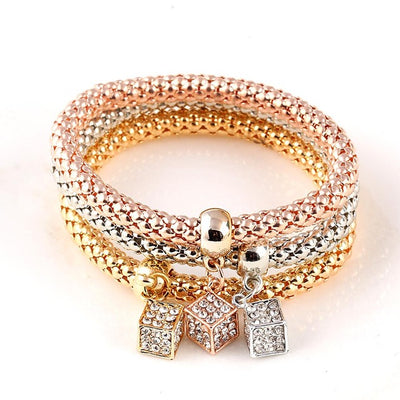 3Pcs Gold Color Heart Charm Elastic Bracelet