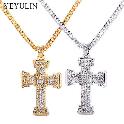 Full Crystal Cross Pendant Necklace Male Maxi Statement Necklace