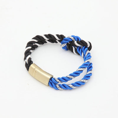 2018 Hot Trendy Fashion Braided Rope Chain with Magnetic Clasp Bow Charm Leather Bracelets & Bangles for Women Men Jewelry
