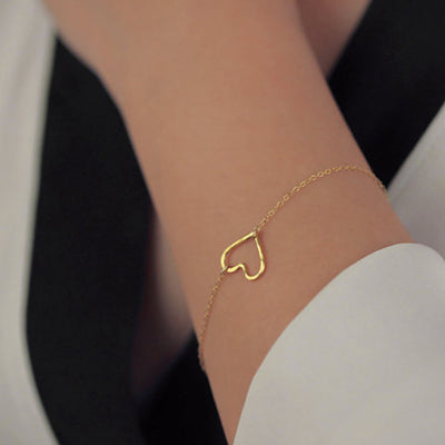 Heart Bracelet, Delicate Simple Gold Bracelet