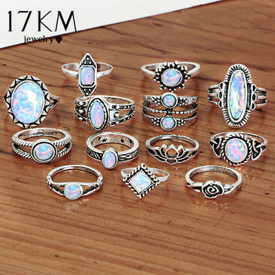 Big Opal Rings Set Tibetan Bohemian Knuckle Ring