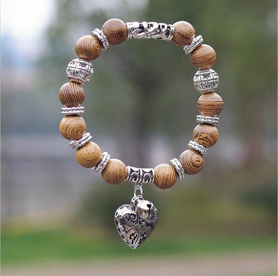 Opal Obsidian Tiger Eye Natural Stone Bracelet with Heart