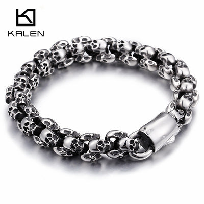 Stainless Steel Shiny Skull Charm Link Chain Brecelets