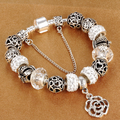 snake chain charm bracelet with flower rose dangle charms