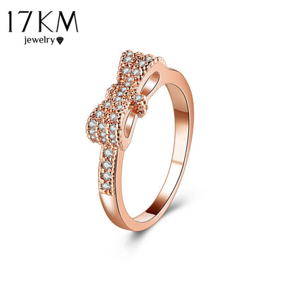 Geometric Bowknot Rings For Women Fashion Crystal Cubic Zircon Ring