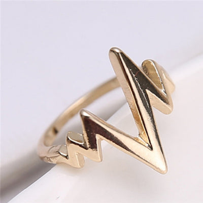 1 Pc Girls Fashion Simple Chic Lightning Design Rock Style Finger Ring