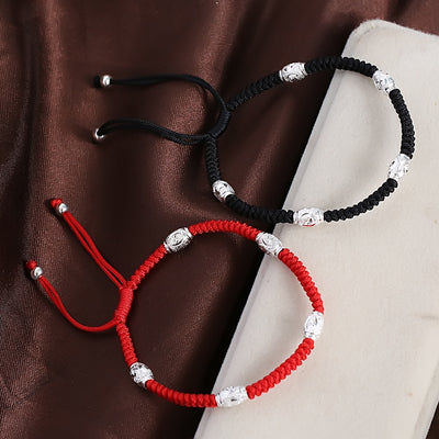 S925 Sterling Silver Bead Lucky Red Rope Bracelet