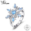 Snowflake Genuine Blue Topaz Ring Solid 925