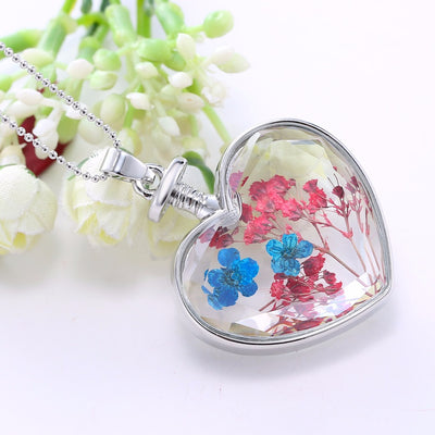 Natural Real Red Decorative Dried Flowers Necklace