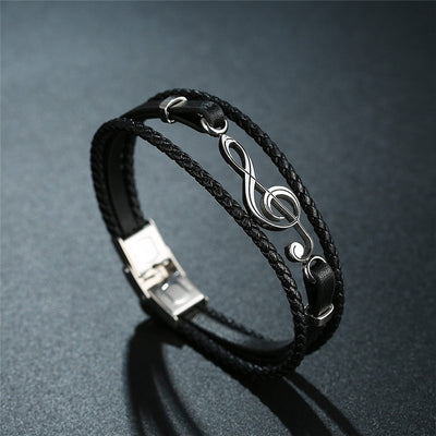 Musical Notes Leather Bracelet