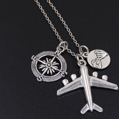 1pc 2017 Wanderlust Passport Earth Airplane Necklace