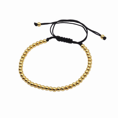 18K Gold 4MM Round Beads Wrap Bead Bracelet