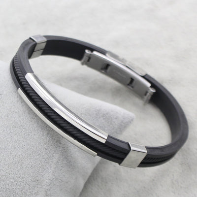 Colorful Rope Chain Black Silicone Rubber Stainless Steel Bracelet