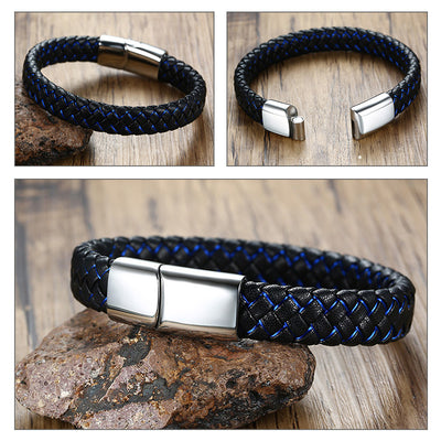 Blue Black Braided Genuine Leather Bangle Stainless Steel