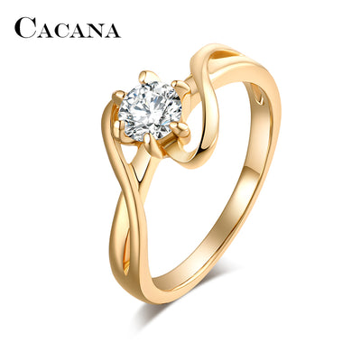 Cubic Zirconia Rings For Women Surround S Type Trendy Zinc Alloy Rings