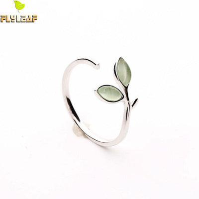 Flyleaf 100% 925 Sterling Silver Green Opal Leaves Buds Open Ring
