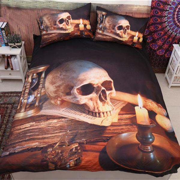 3D Skull With Candle Duvet Cover Bedding Kit - Infinity Deals Store
