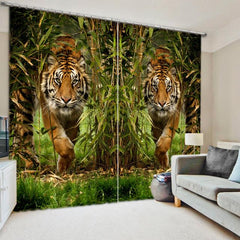 3D The Tigers Fabric Sunshade Window Curtains for Living Room - Infinity Deals Store