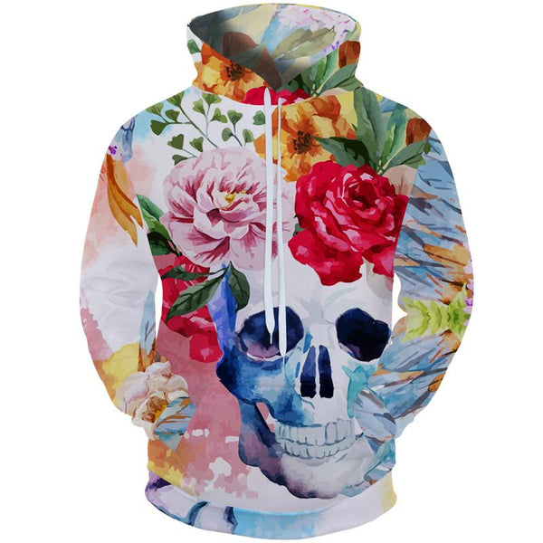 3D Flower Skull Hoodies