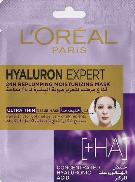 L'Oreal Paris Hyaluron Expert 24H Replumping Moisturizing Tissue Mask, With Hyaluronic Acid