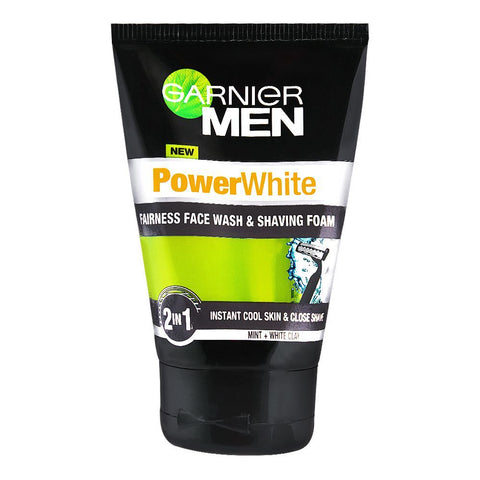 Garnier Men PowerWhite 2-In-1 Fairness Face Wash & Shaving Foam 100ml