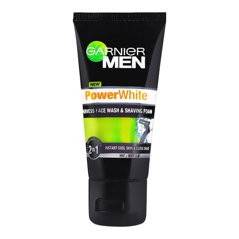 Garnier Men PowerWhite 2-In-1 Fairness Face Wash & Shaving Foam 50ml