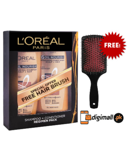 Special Offer - Loreal Paris 6 Oil Nourish 175ml Shampoo + Conditioner (Free Hair Brush)