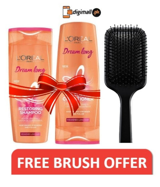 Special Offer - Loreal Paris Dream Long 175ml Shampoo + Conditioner (Free Hair Brush)