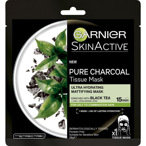 Garnier SkinActive Pure Charcoal Mask With Black Tea-Hydra-GARNIER-digimall.pk
