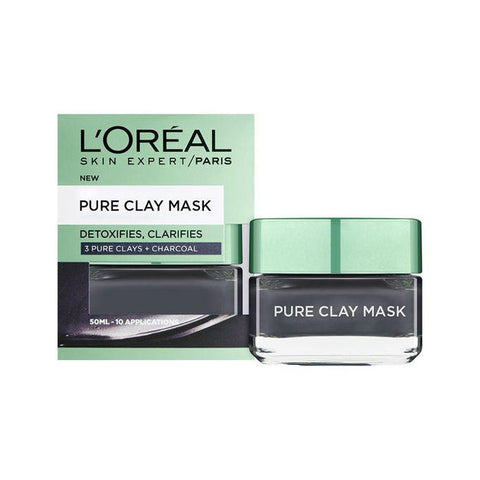 Clay Detoxifies, Charcoal 50Ml (Black)-Clay-Loreal Paris-BLACK-digimall.pk