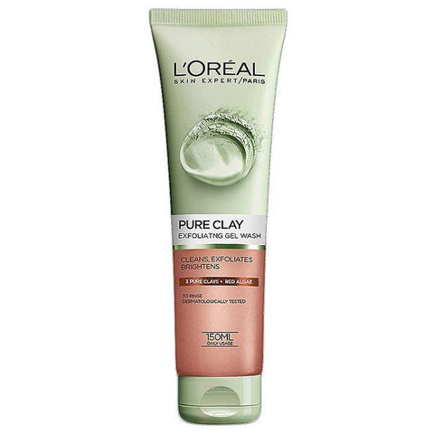 Clay Exfoliates Red Algae Face Wash 150Ml Red-Clay-Loreal Paris-RED ALGAE-digimall.pk