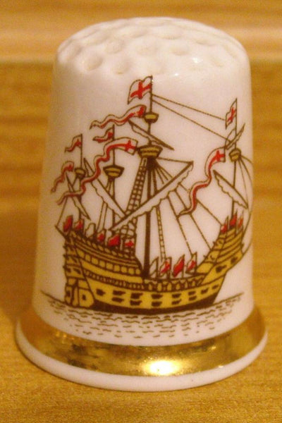 Mary Rose Ship Thimble Finsbury Fine Bone China Made in England - Konig Books