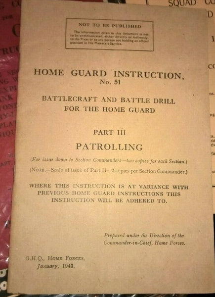 Home Guard Instruction No.51 Part III - Patrolling Jan 1943 - Konig Books