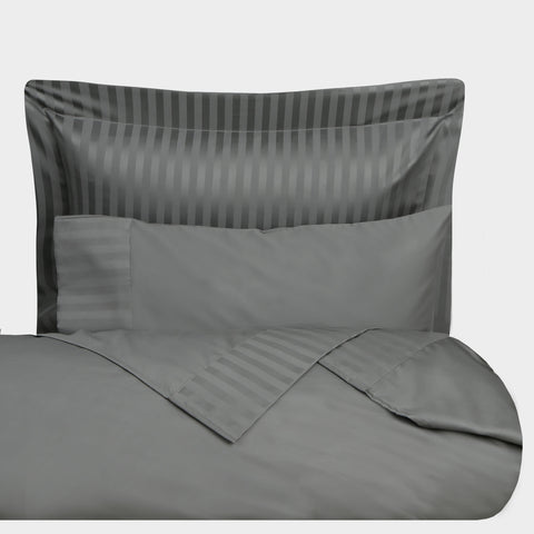 Bed Sheet Stripe Satin Grey