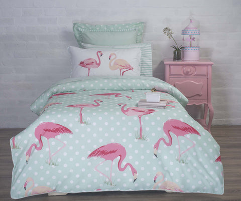 Duvet Cover-Flamingo Polka