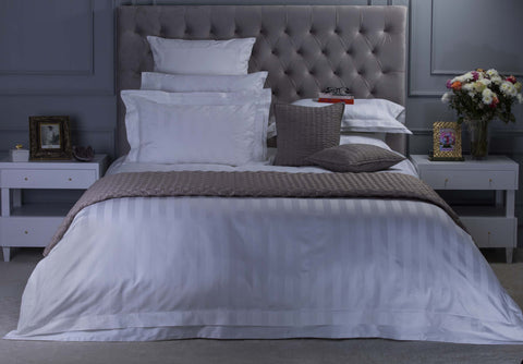 Duvet Cover-Stripe Satin (White)
