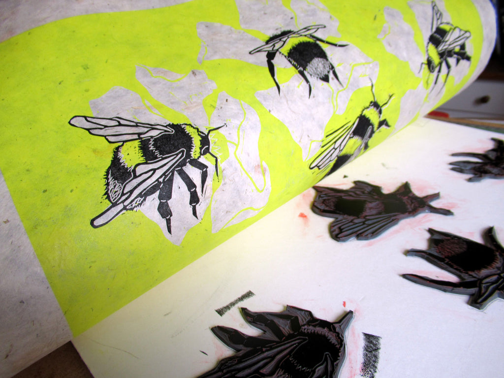 Printing up Bumblebee Linocuts