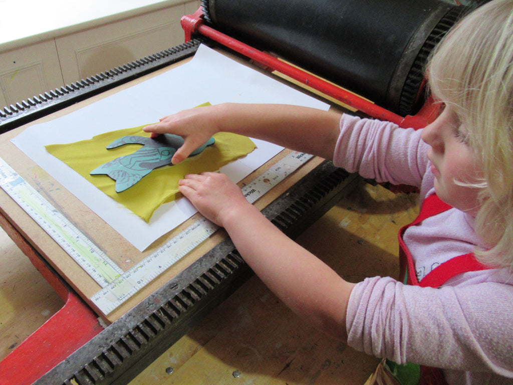 Printing Linocuts onto Fabric