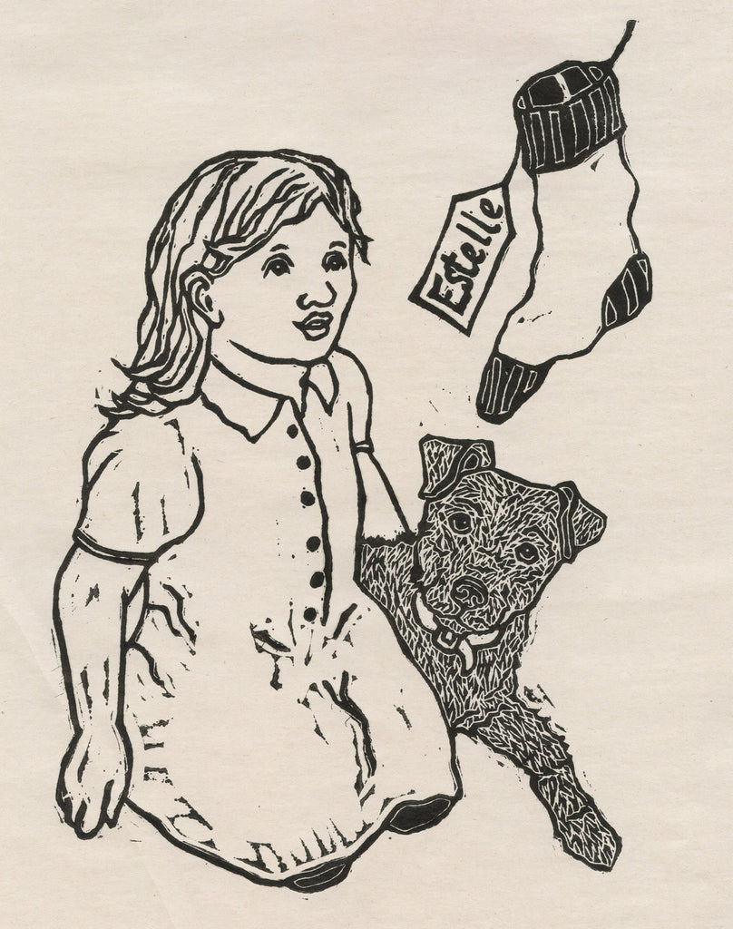 Linocut of little girl