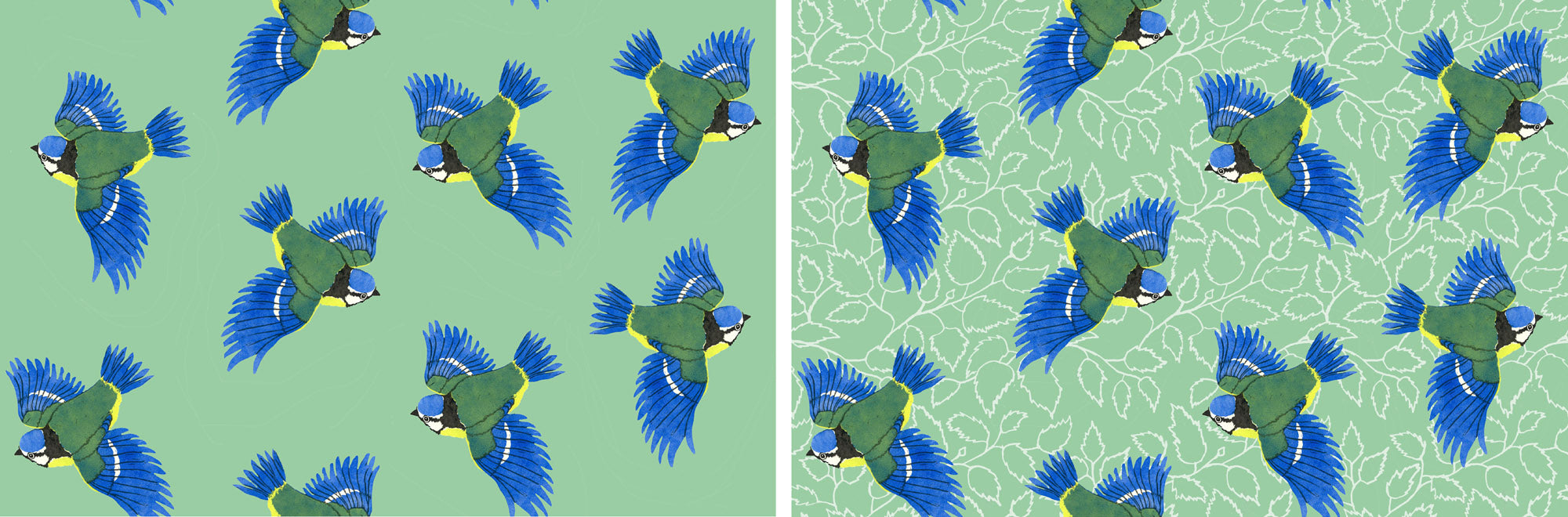 Blue Tit Fabric Design