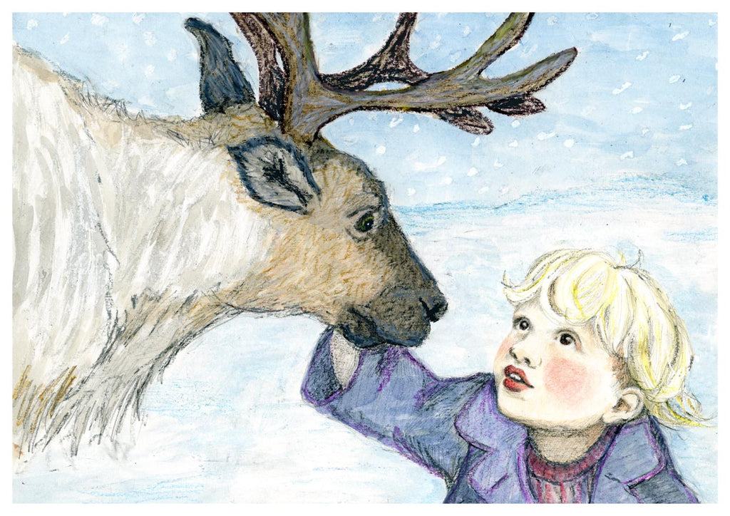 Reindeer and little girl
