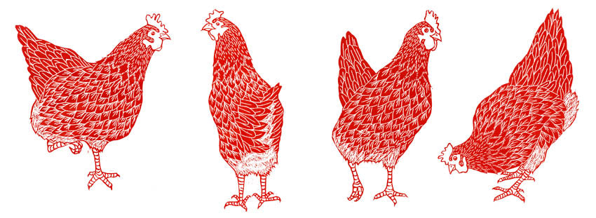 Red Hen Linocut Prints